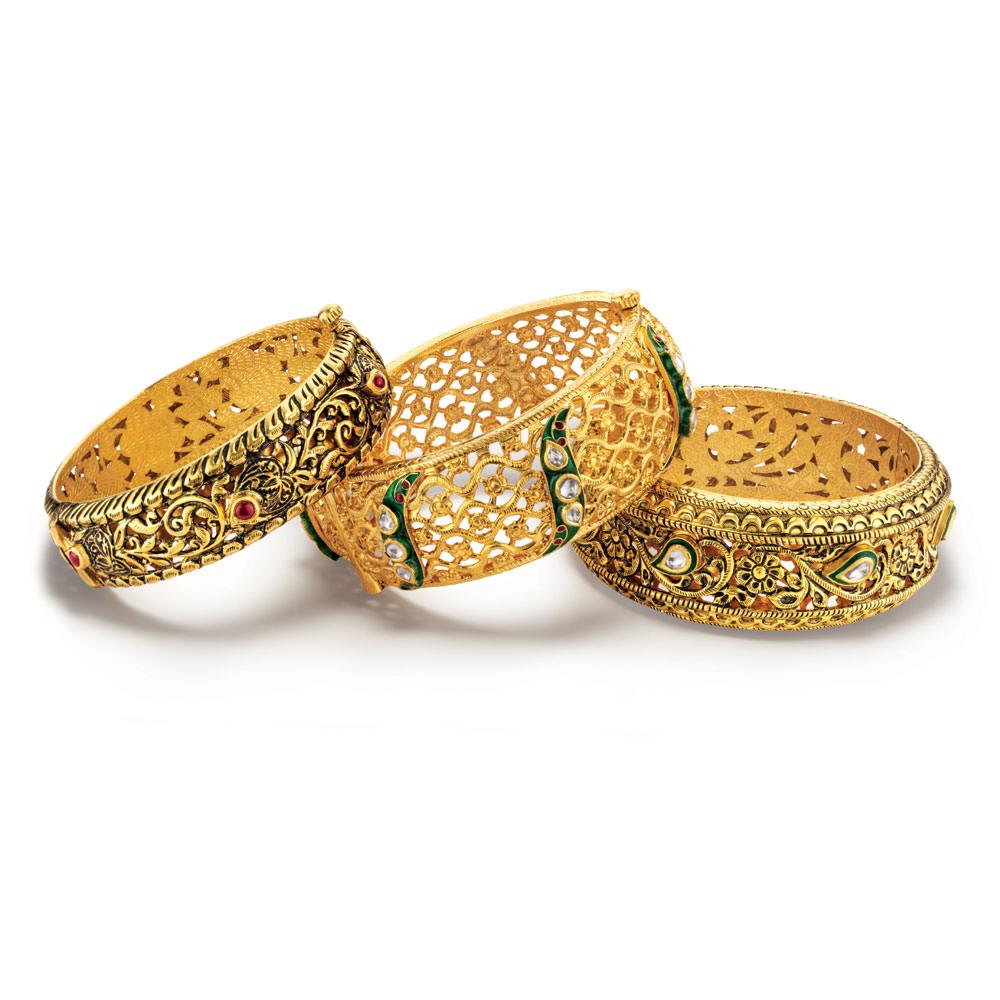 Bridal Gold Bangles Design, Polki Bangles, Gold Bangles Set