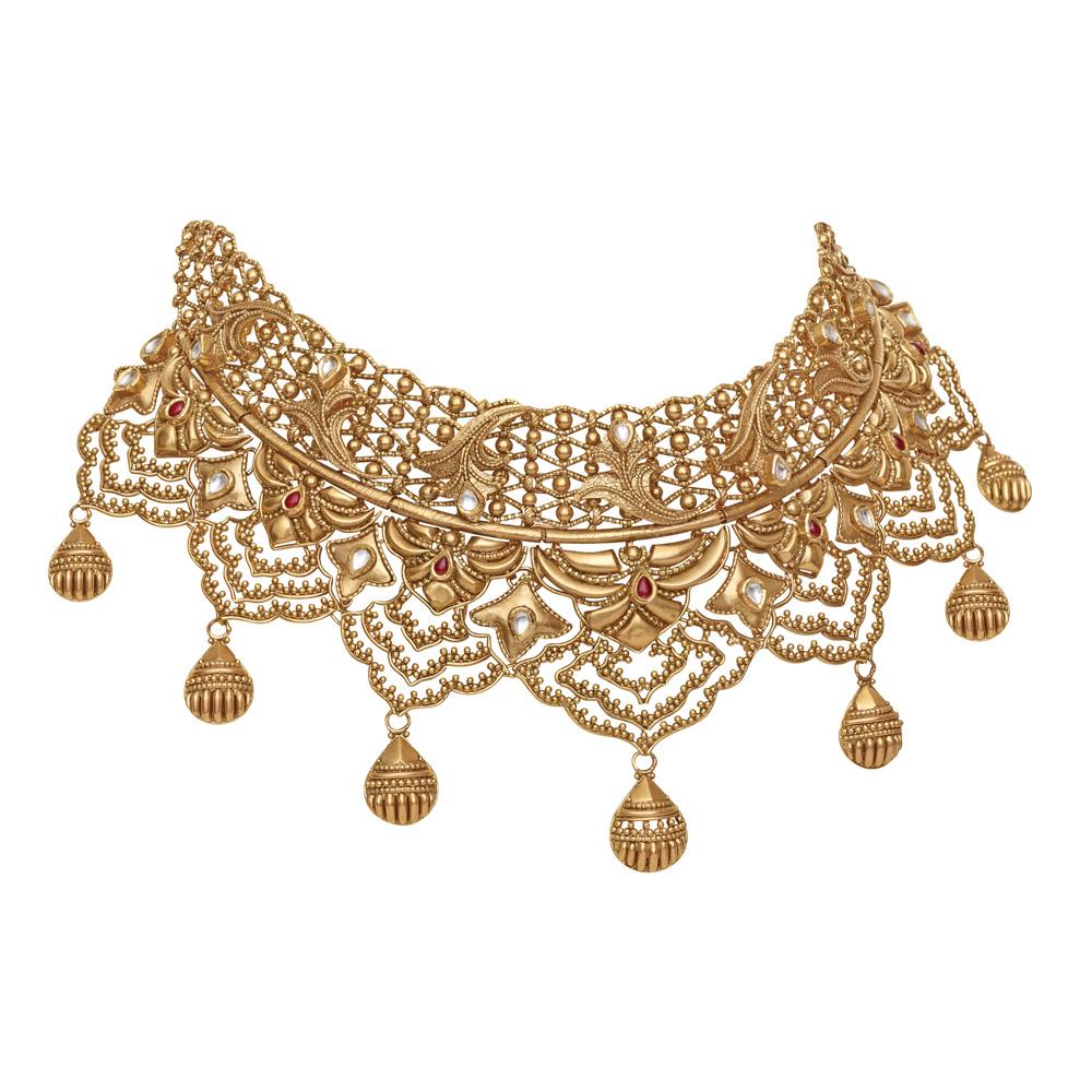 Choker gold necklace designs, Polki choker necklace design