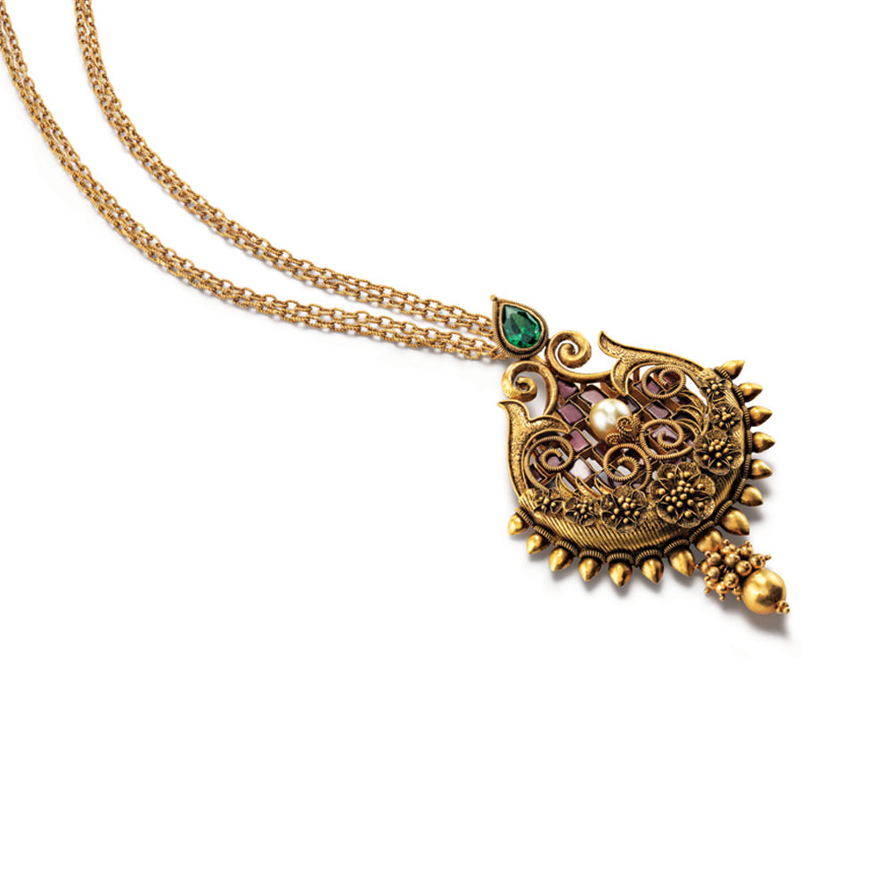 Latest Pendant Designs in Gold, Polki pendant designs, Gold pendant