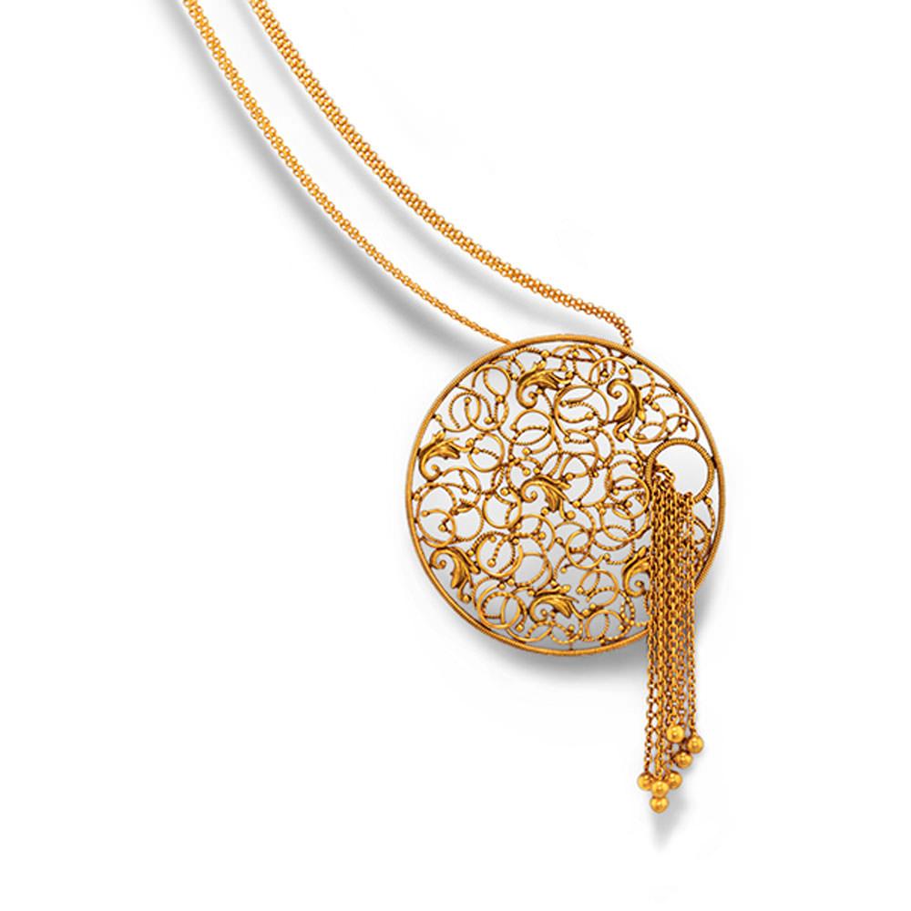 Buy Gold Pendant Set - Latest Gold Pendant Set Designs Online | Azva