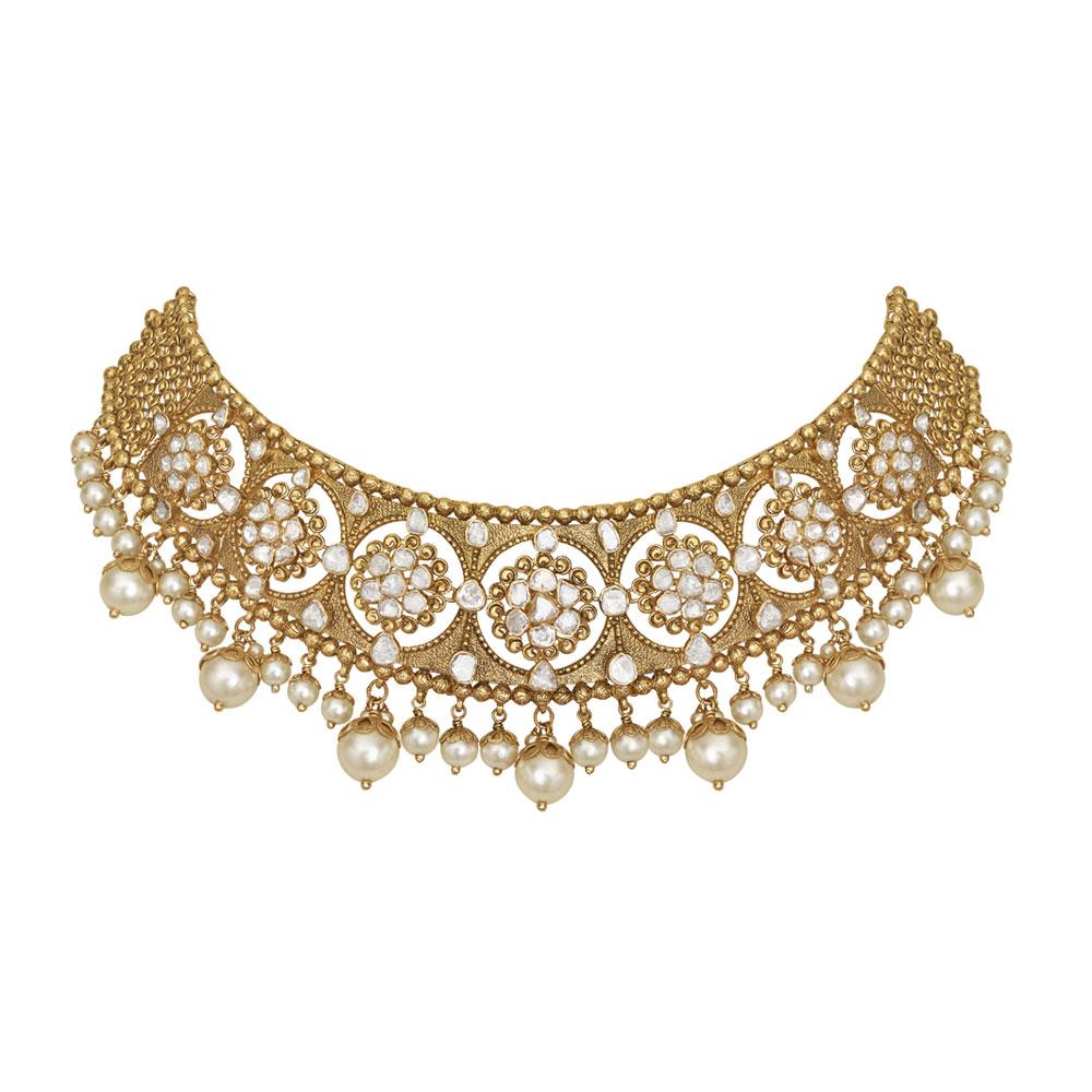 Buy Gold Choker Necklace - Best Gold Choker Set Designs Online | Azva