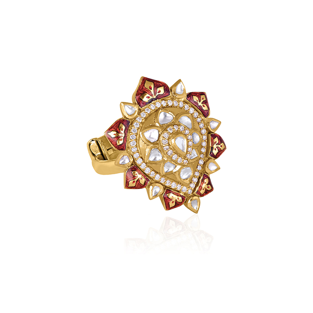 Polki Ring With Enamel Petals - Rings | Azva