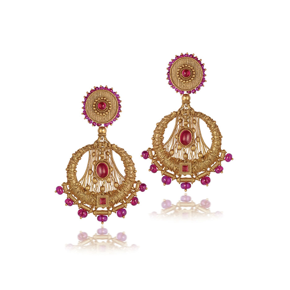 22 kt Filigree Gold Earrings with Pink Beads - Earrings | Azva