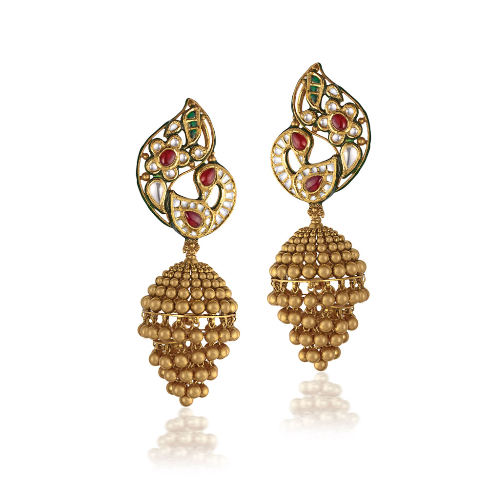 22 Kt Gold Peacock Earrings With Gold Beads - Earrings | Azva