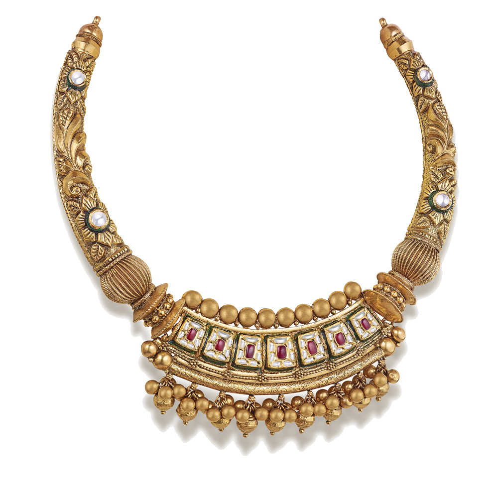 22 kt Gold Collar Necklace with Kundan Set Stones - Hasli | Azva