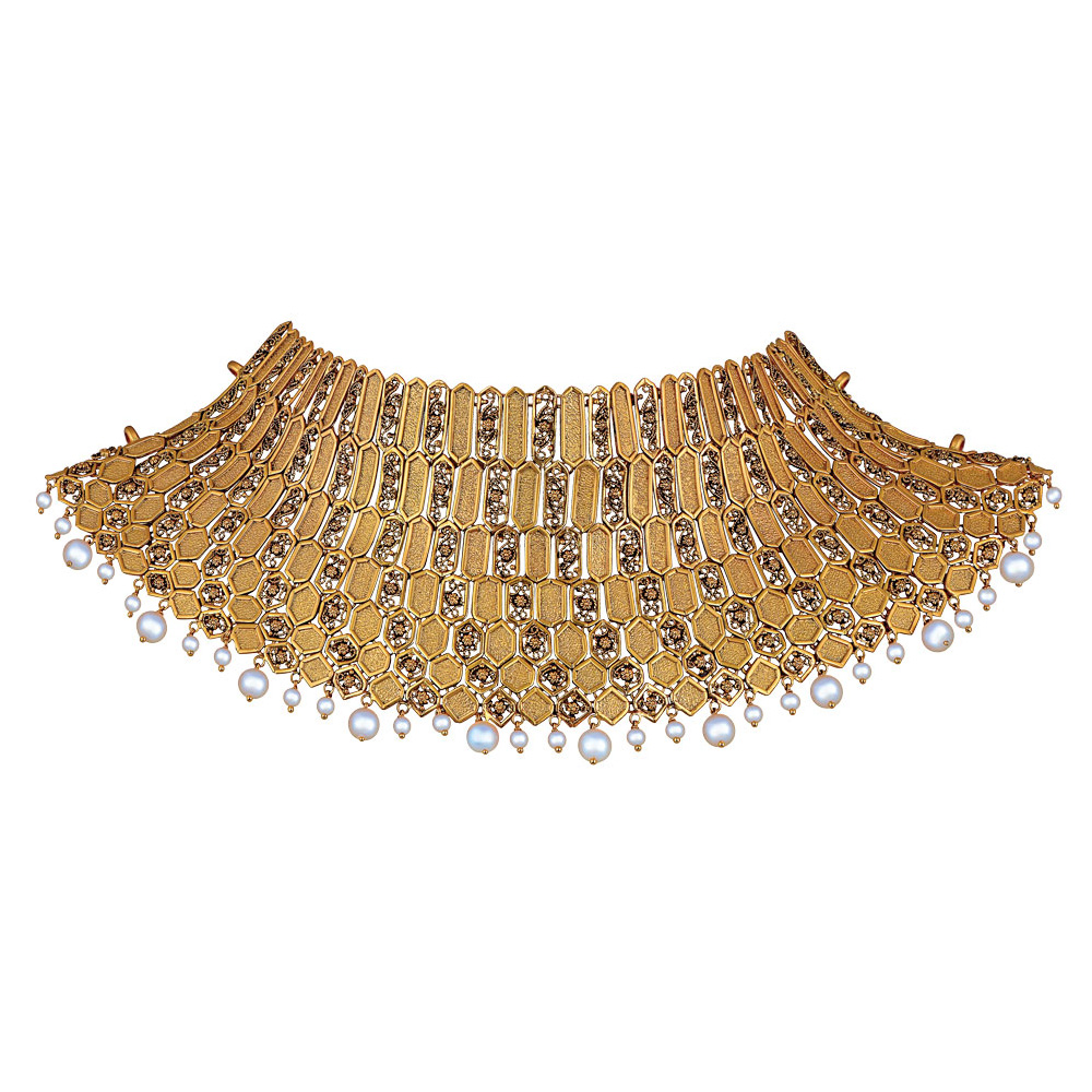 22 kt Gold Showstopper of Filigree Hexagons - Showstopper | Azva