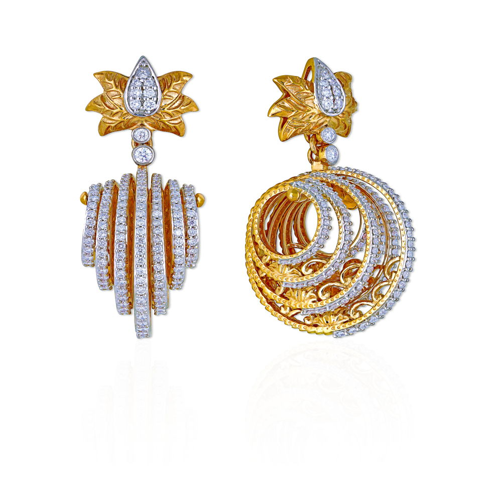 Diamond Earrings With A Lotus Stud - Earrings | Azva