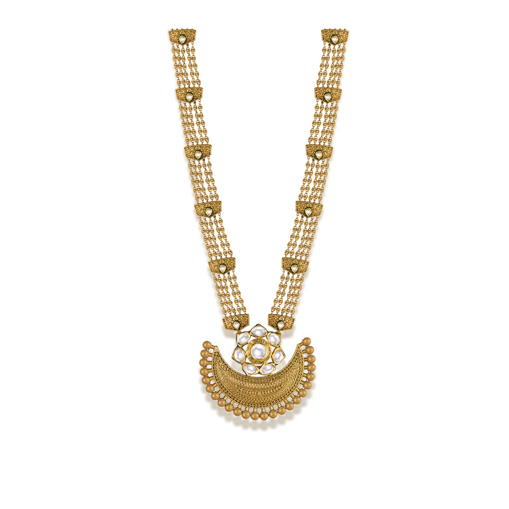 22 kt Gold Long Necklace with Crescent Medallion - Necklace | Azva