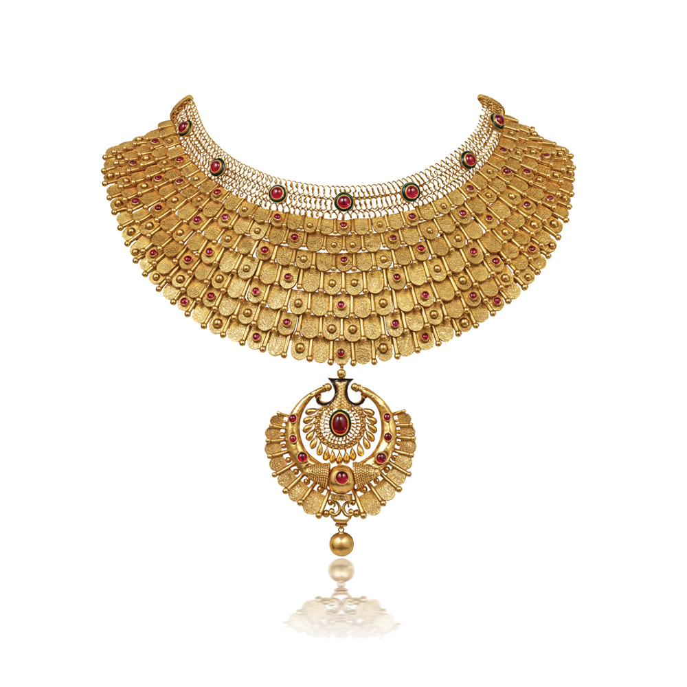 22 kt Textured Gold Showstopper with Graduating Scales - Showstopper