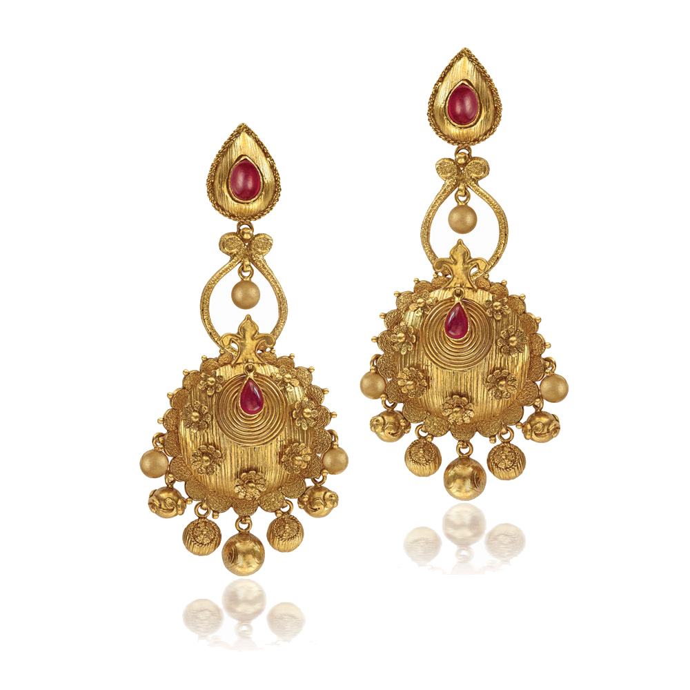 22 Kt Gold Earings With Cutwork Beads - Earrings | Azva