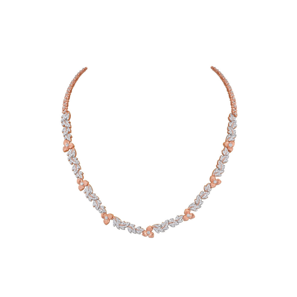 The Rose necklace with diamond studded petals | Azva