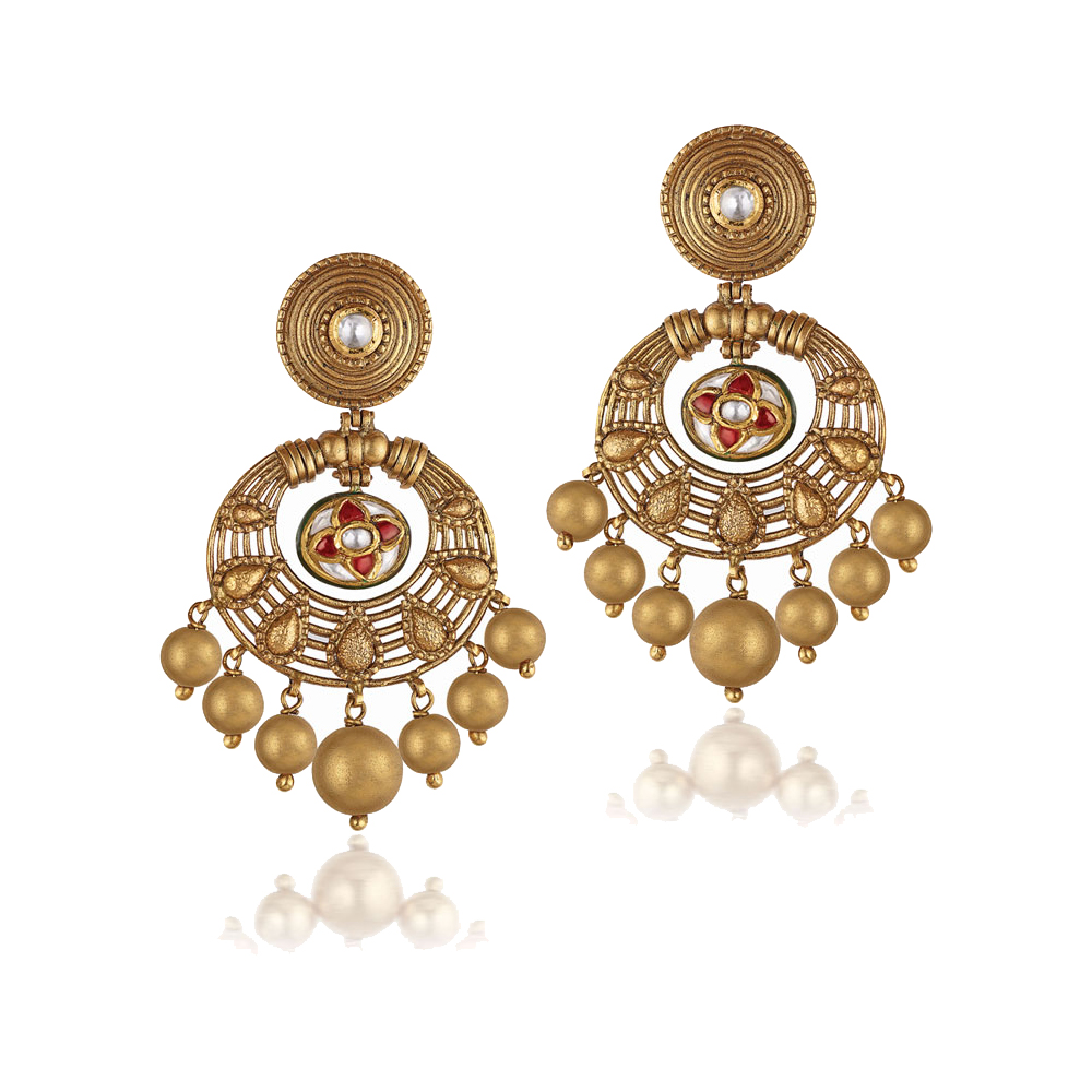 22 Kt Floral Gold Earrings With Kundan Set Stone Centre - Earrings | Azva