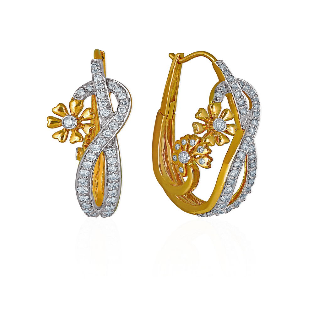 Diamond Floral Modern Hoop Earring - Earrings | Azva