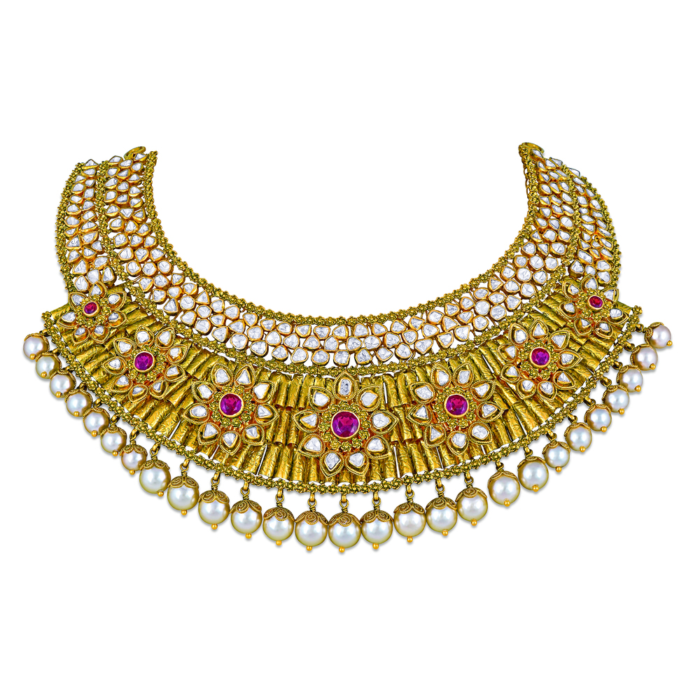 Polki Floral Necklace with Pearls - Necklace | Azva