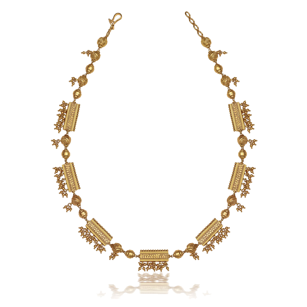 22 Kt Gold Bead Necklace with Ghungroos - Bead Mala | Azva