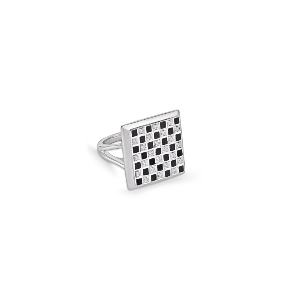 Harmony checkered enamel and diamond ring | Azva