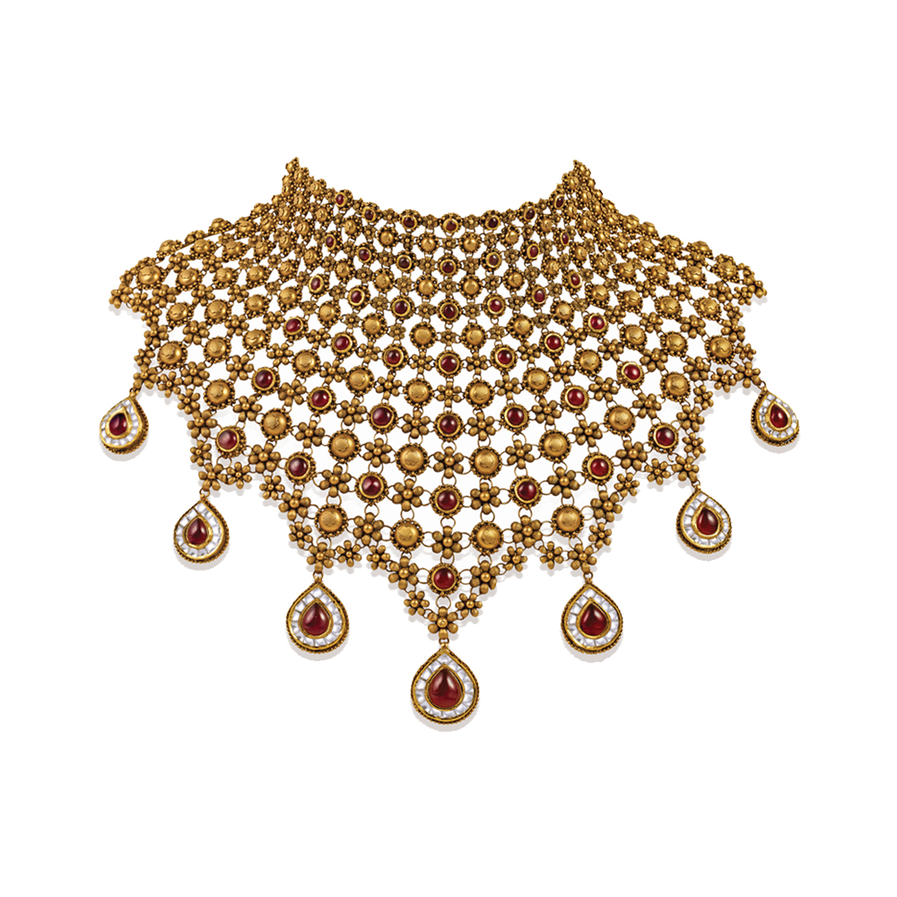 22 kt Floral Gold Showstopper with Alternating Red Stones - Showstopper | Azva