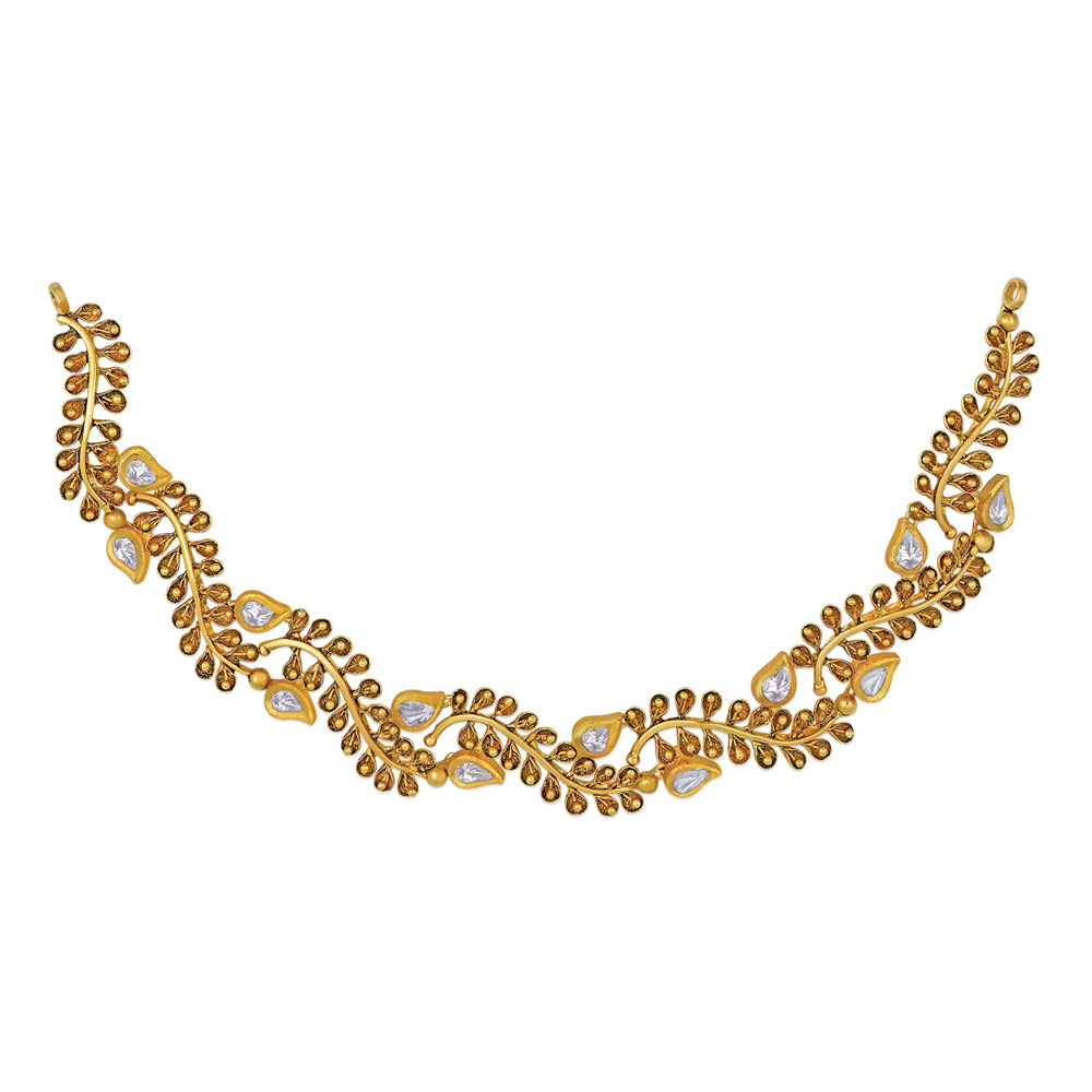 Polki Necklace of Gold Vines - Necklace | Azva