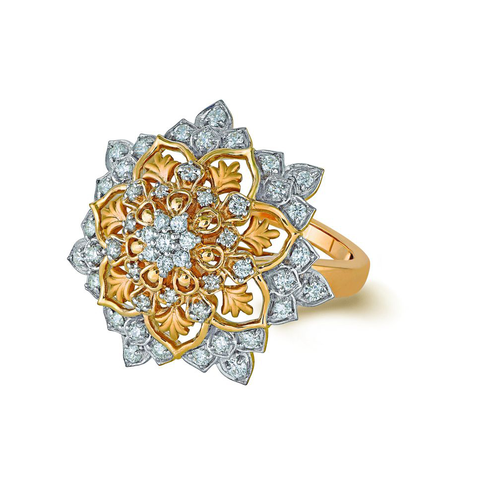Diamond Ring With Seven Radiating Petals - Rings | Azva