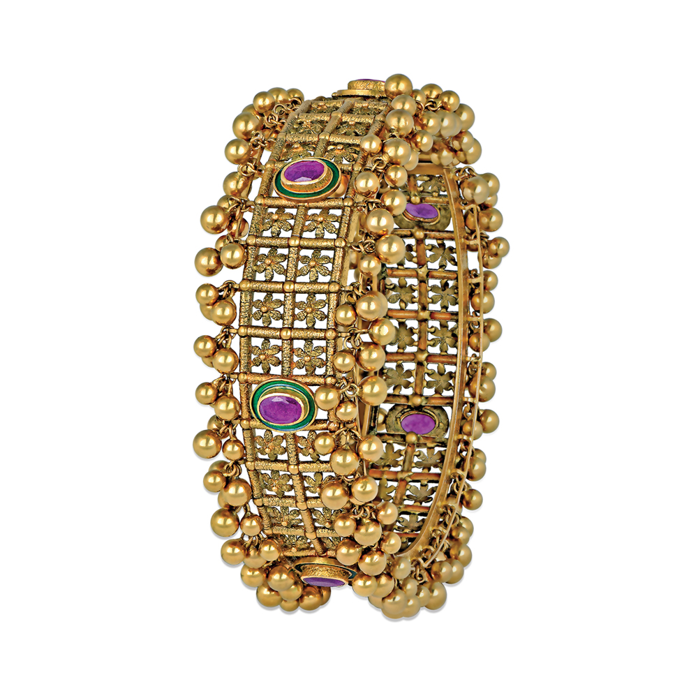 22 Kt Gold Bangle With Seven Vibrant Stones - Bangles | Azva