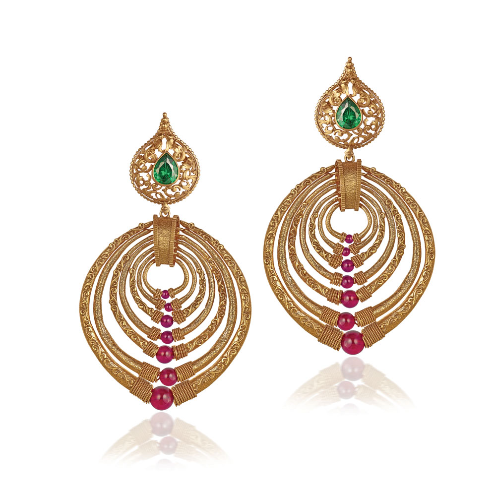 22 Kt Gold Earrings With Textured Hoops - Earrings | Azva