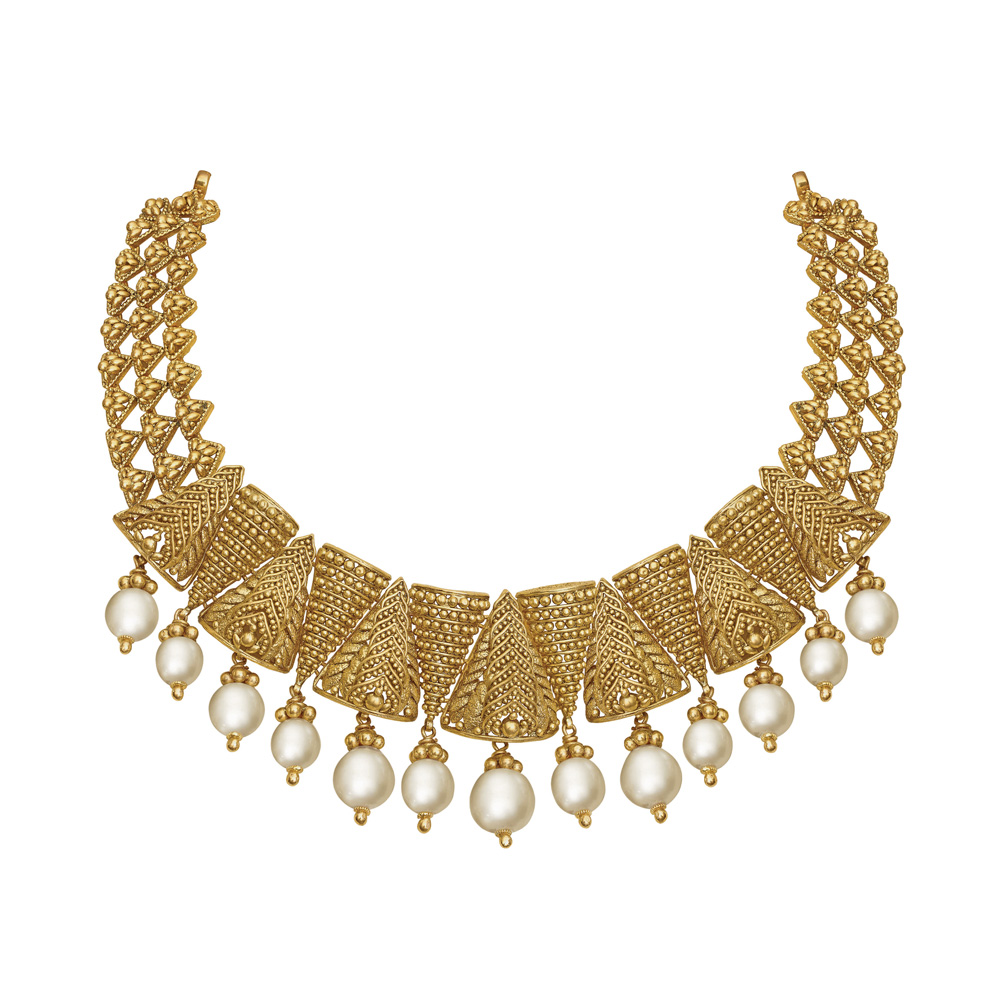 22 kt Gold Necklace with Pearls
