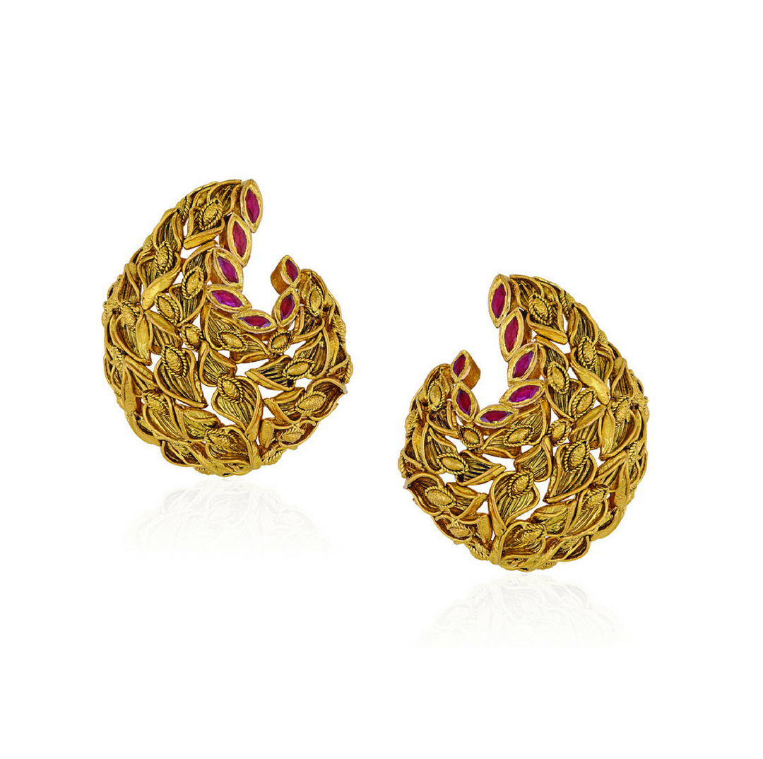 22 Kt Gold Earrings With Textured Leaves - Earrings | Azva