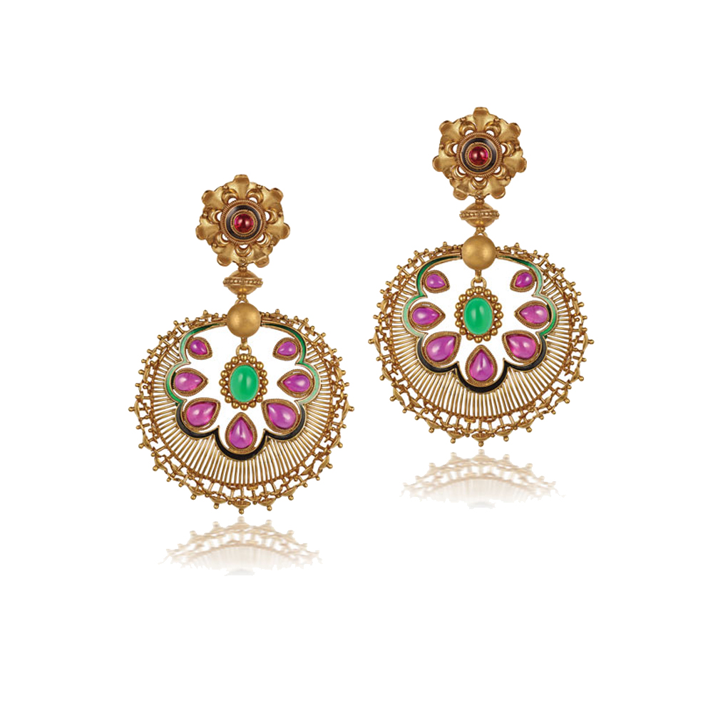 22 kt Gold Earrings with Coloured Stones - Earrings | Azva