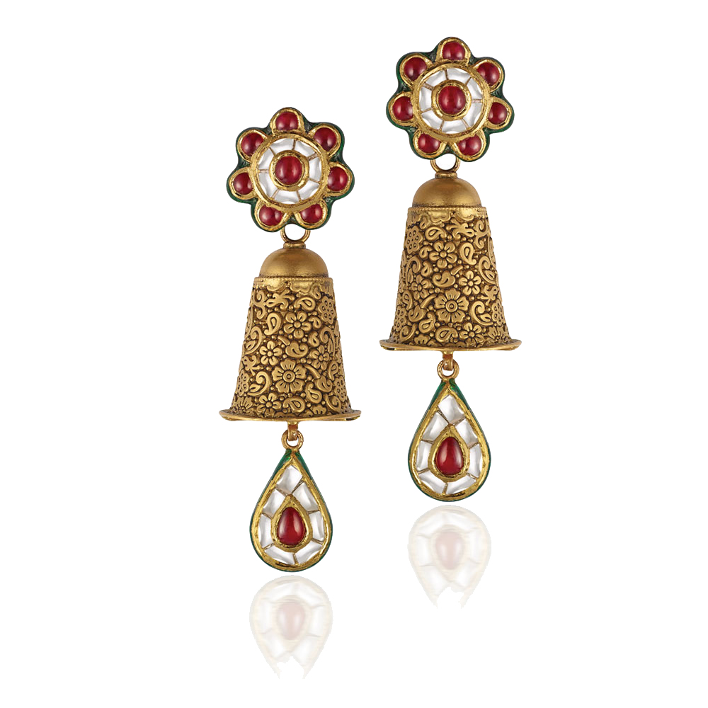 22 Kt Gold Earrings With Kundan Floral Studs - Earrings | Azva