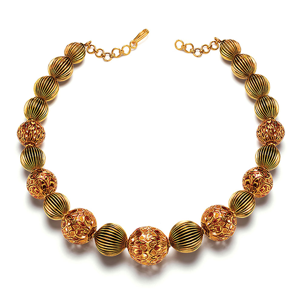 22 Kt Gold Bead Necklace with Enamel Accents - Bead Mala | Azva