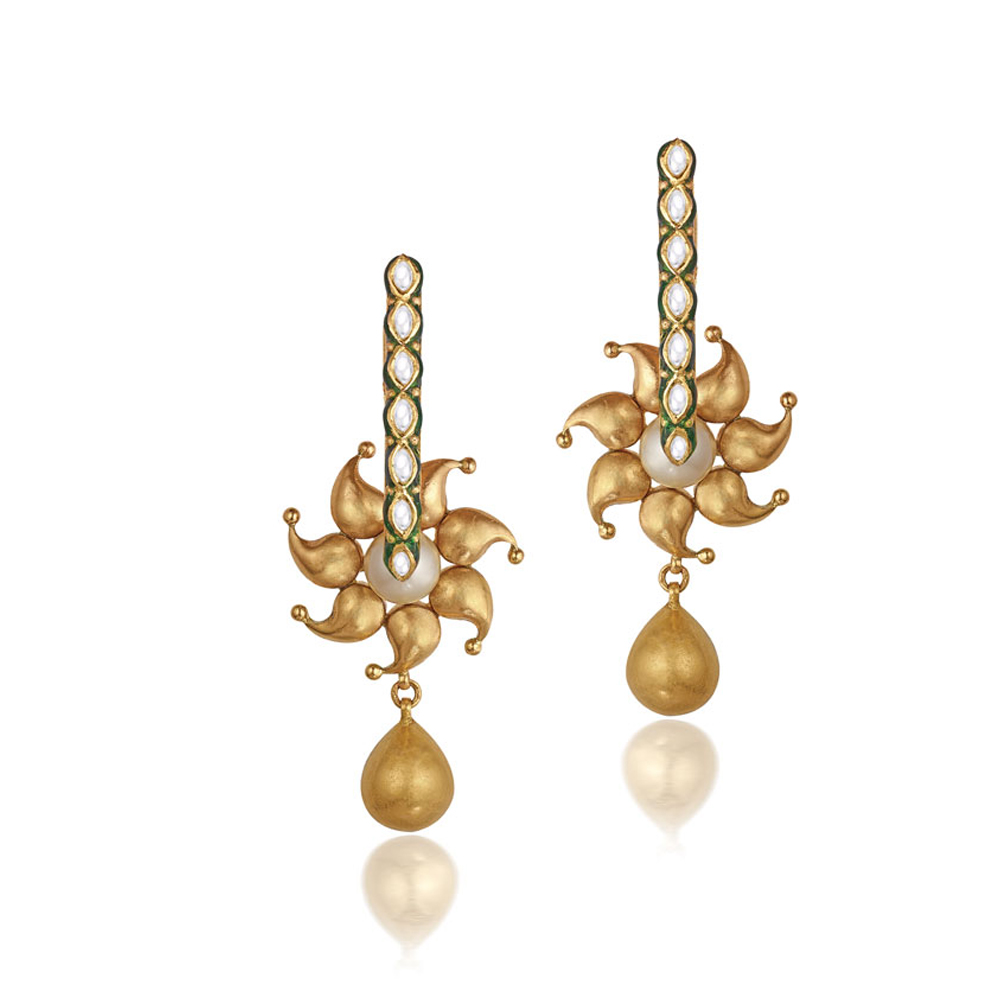 22 kt Gold Earrings with Seven Kundan Set Stones - Earrings | Azva