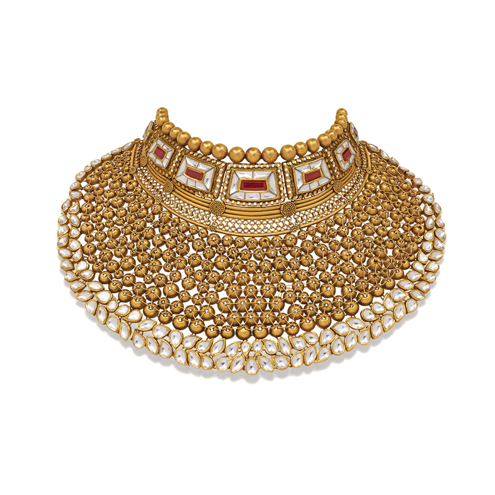 22 kt Gold Showstopper with Handcrafted Beads and Red Stone - Showstopper | Azva