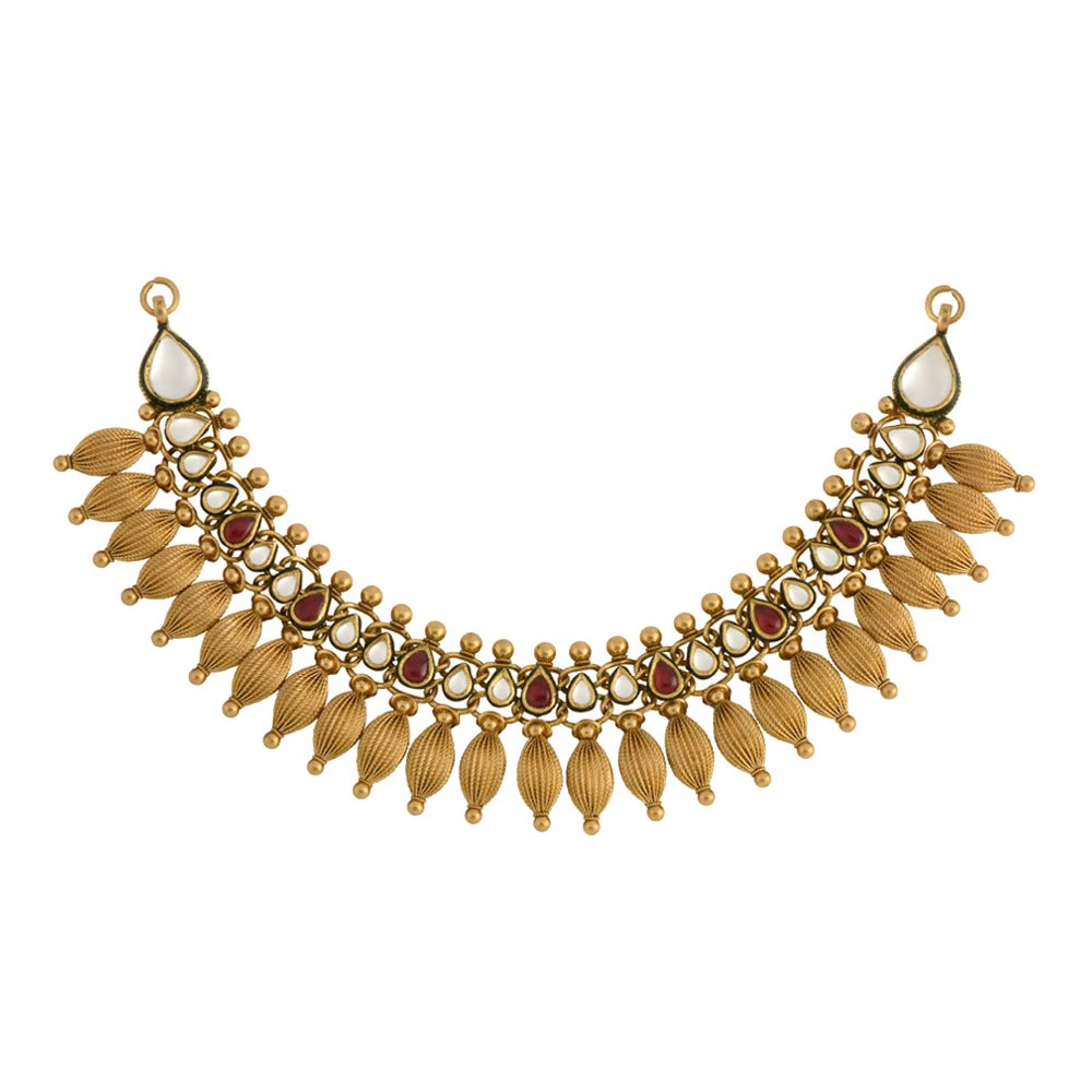 22 kt Gold Collar Necklace with Textured Beads - Necklace | Azva