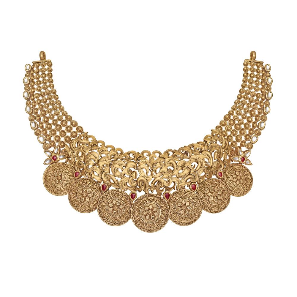 22 kt Gold Necklace with Floral Vines - Necklace | Azva