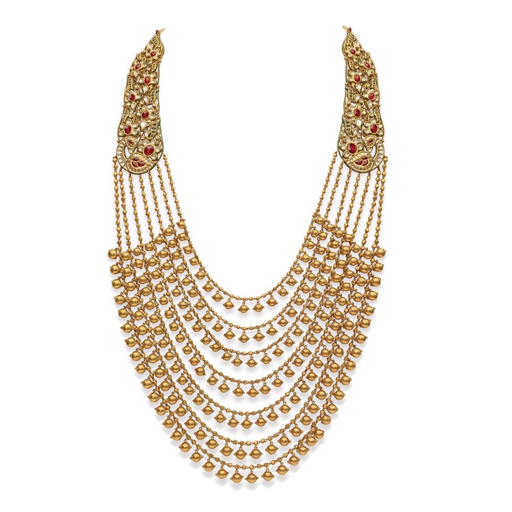 22 Kt Gold Layered Necklace with Kundan Peacocks -  Seven rows haar | Azva