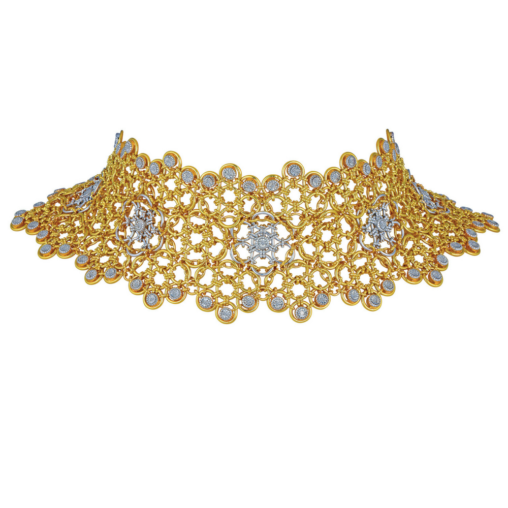 Entwined Choker with Diamond Clusters - Entwined | Azva
