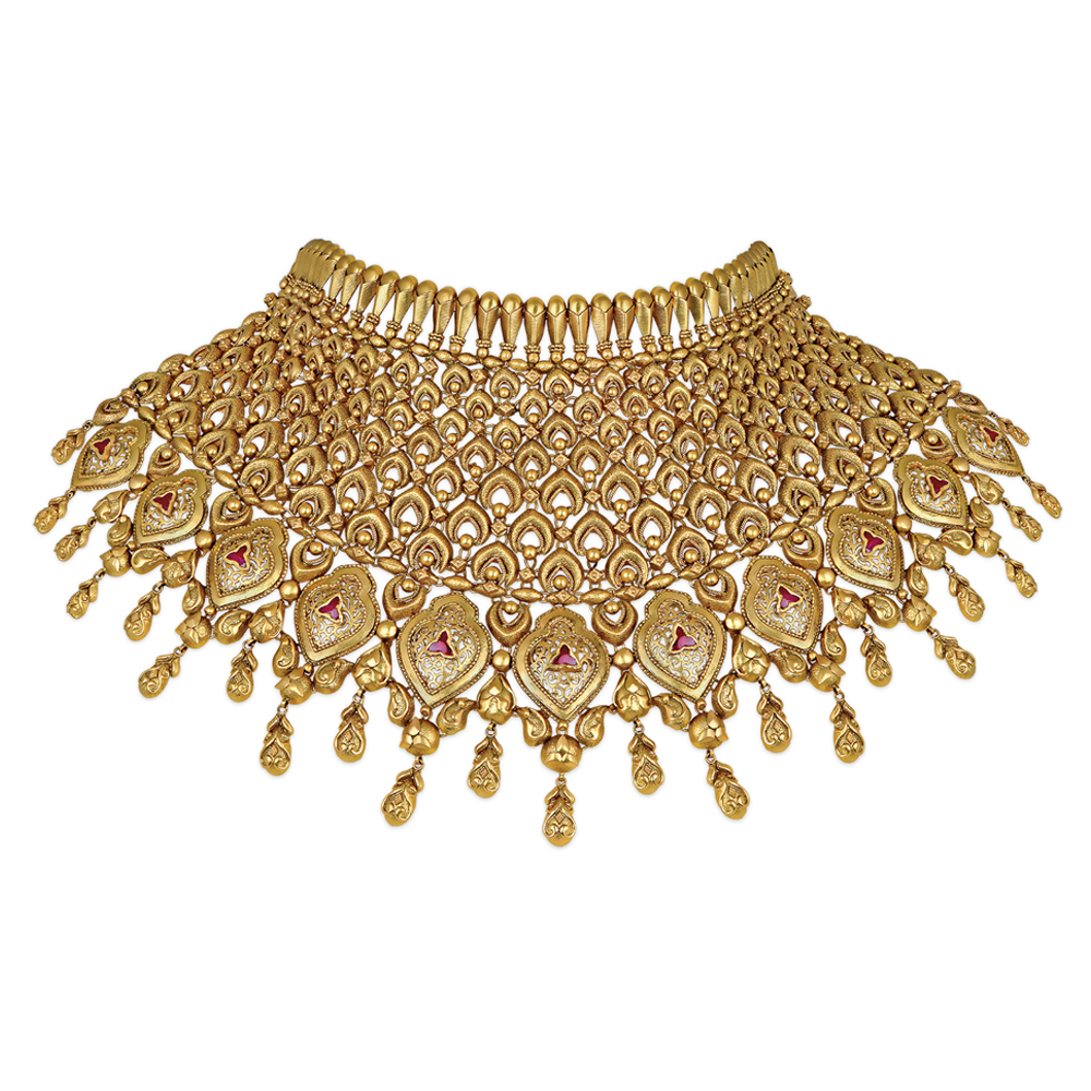22 kt Gold Chainmail Showstopper with Handcrafted Arches - Showstopper | Azva