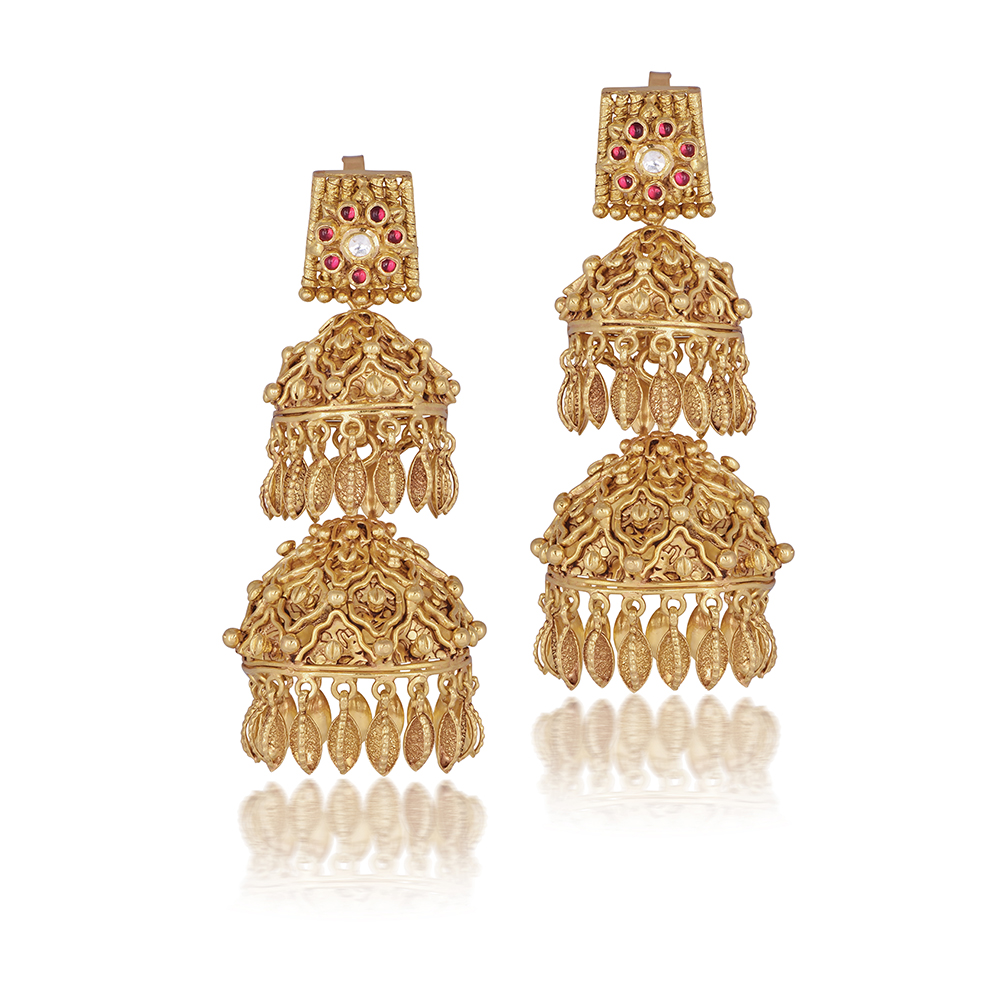 22 Kt Gold Earrings With Structural Blooms - Earrings | Azva