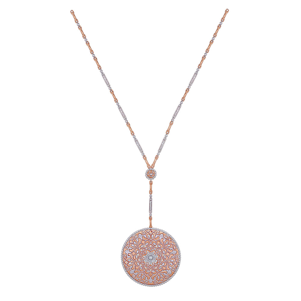 Diamond Studded Inlay Necklace in Rose Gold - Necklace | Azva