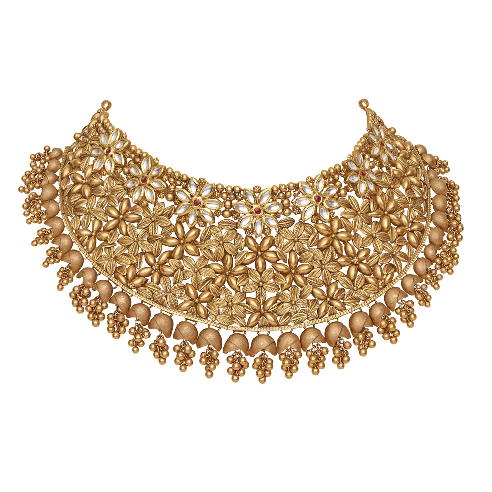 22 kt Floral Gold Choker with Ghungroos - Choker | Azva