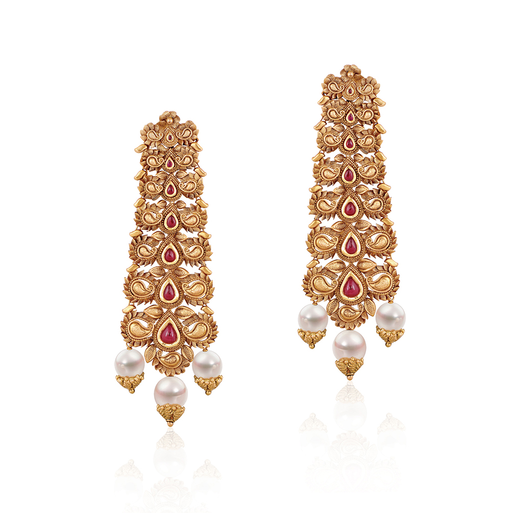 22 Kt Gold Earrings With Paisleys - Earrings | Azva