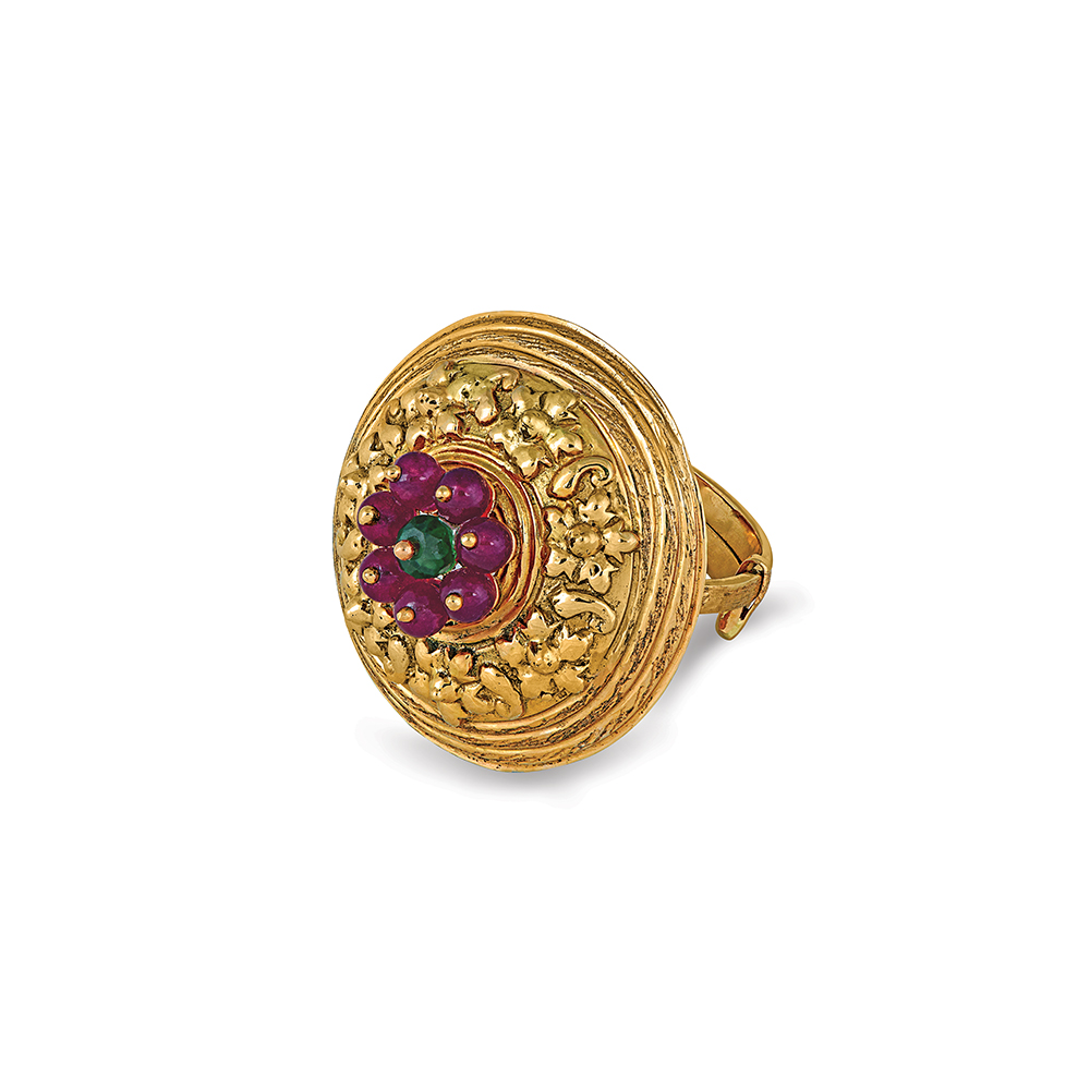 22 Kt Gold Ring With Cluster Of Beads - Rings | Azva