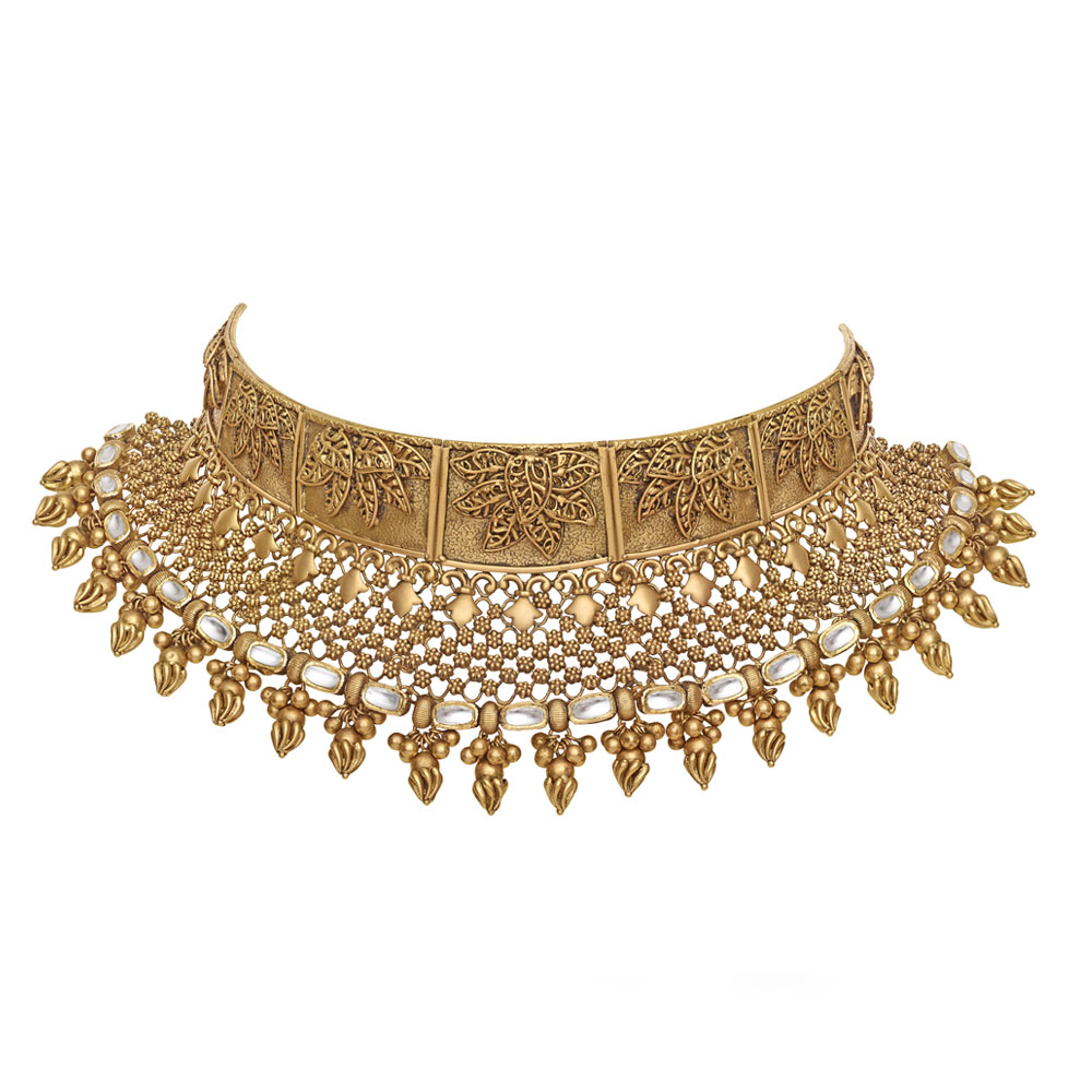 22 kt Gold Choker with Intricate Vines - Choker | Azva