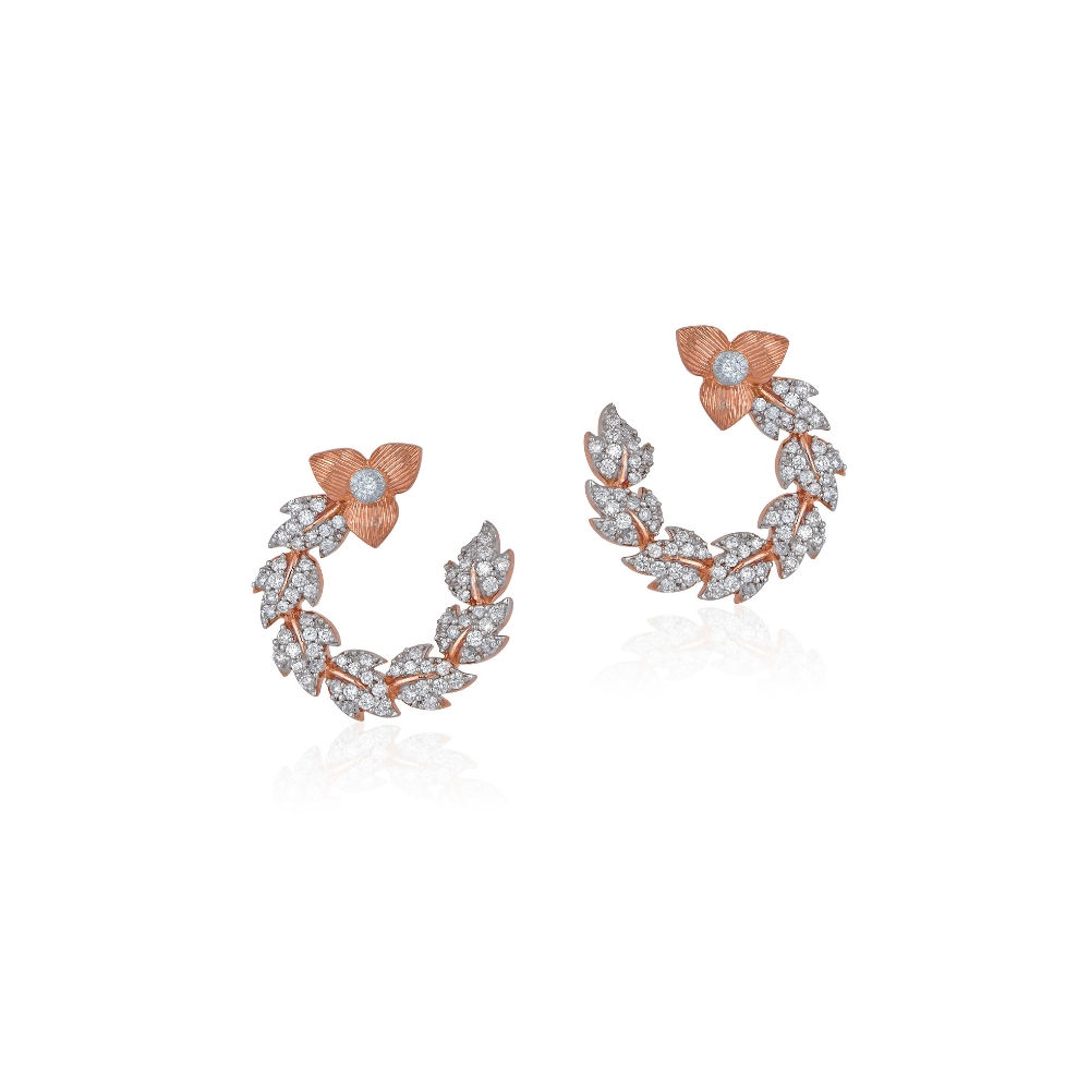 The Rose earrings with a swirl of diamond petals | Azva