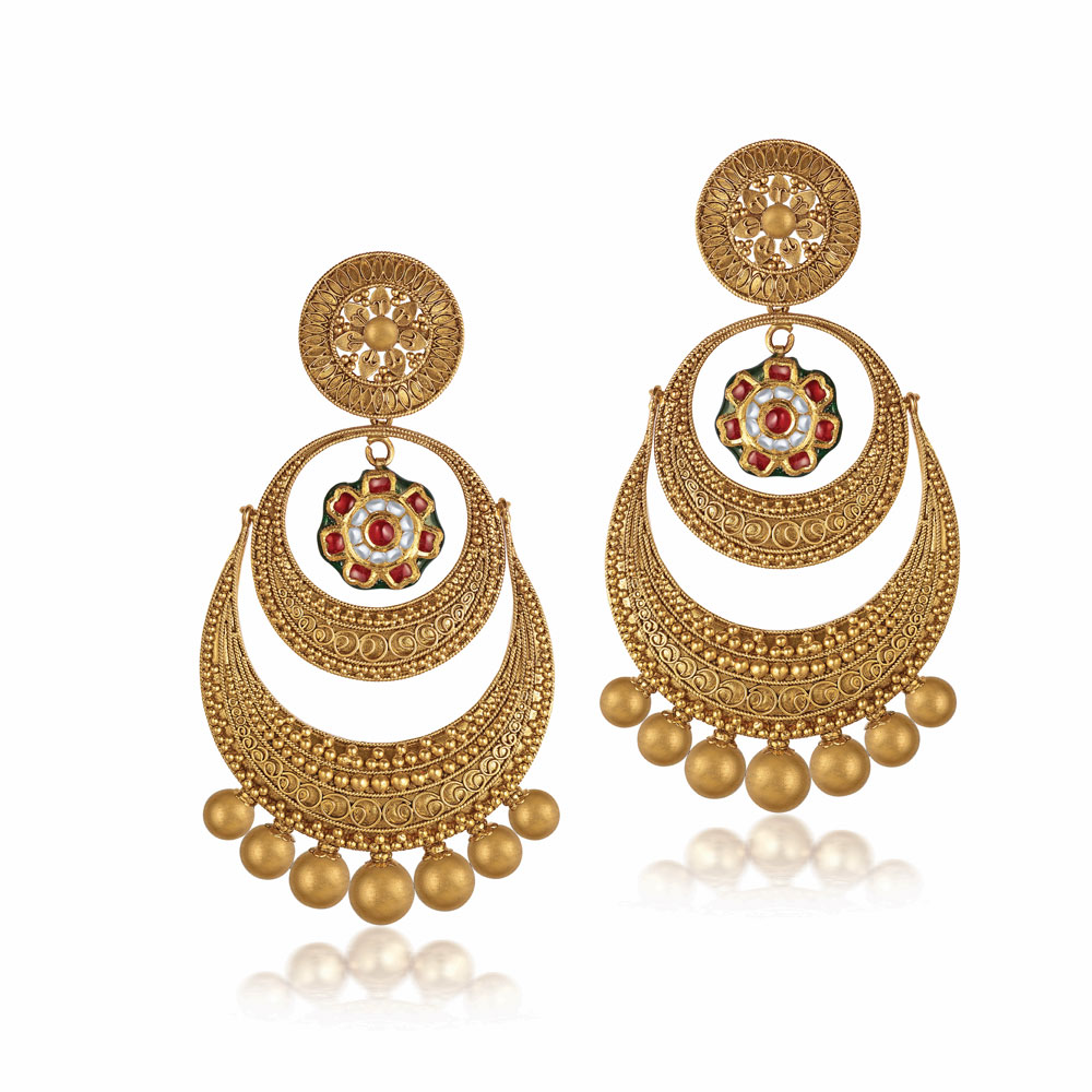 22 Kt Gold Stacked Crescent Earrings - Earrings | Azva
