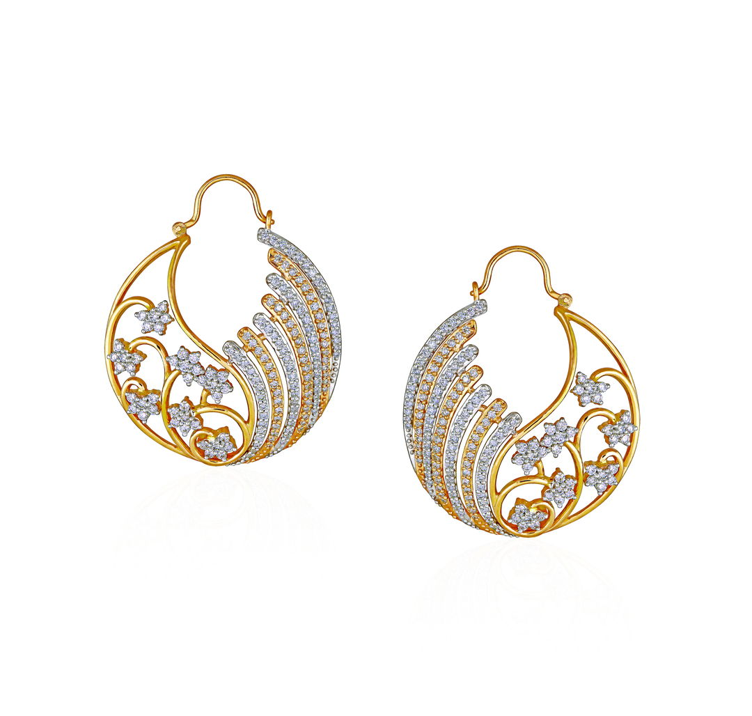 Diamond Asymetric Floral Hoop Earrings - Earrings | Azva