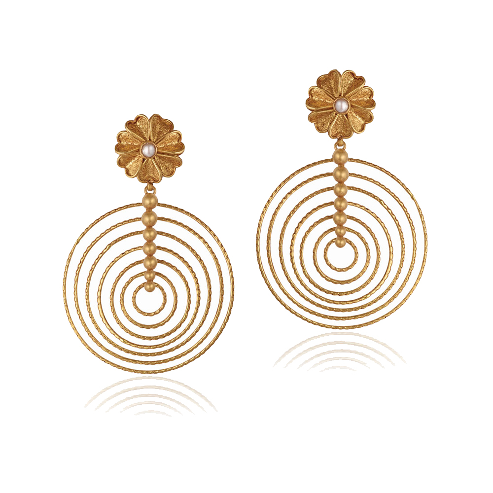 22 Kt Gold Earrings With Concentric Hoops - Earrings | Azva