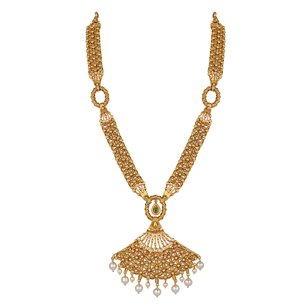 22 kt Floral Gold Necklace with Seven Pearls - Necklace | Azva