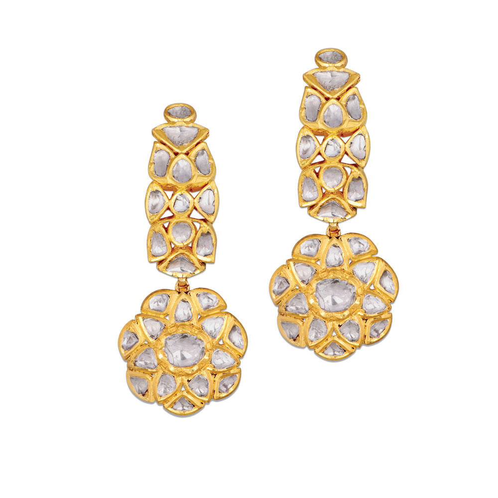 Polki Floral Statement Earrings - Earrings | Azva