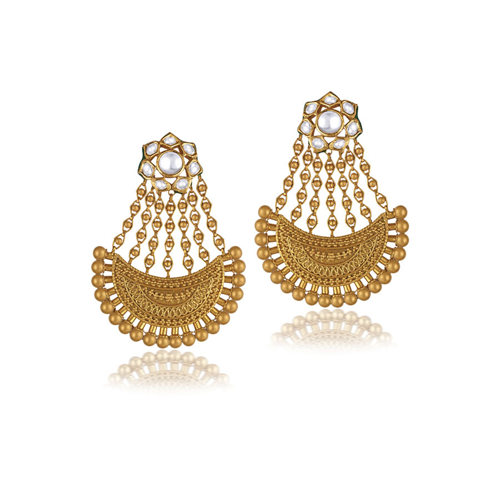 22 kt Gold Earrings with Intricately Carved Crescent - Earrings